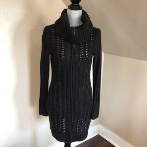Elie tahari Wool zip up knit long cardigan sweater